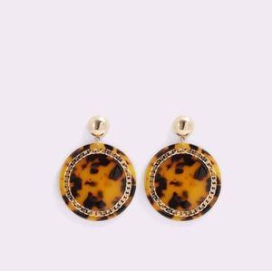 Leopard women's earning disk brown/gold
